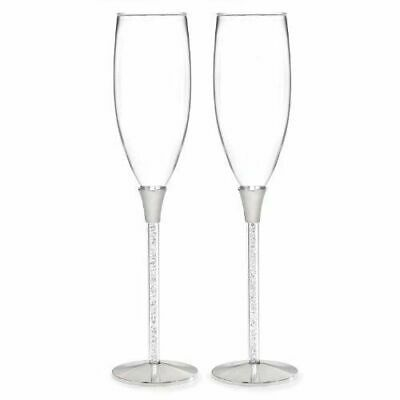Crystal Filled Stemmed Wedding Toasting Flutes Toasting Glasses A Pair