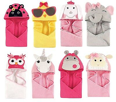 "HUDSON BABY GIRLS ANIMAL HOODED TOWEL 33"" x 33""  100% COTTON BABY SHOWER GIFT"