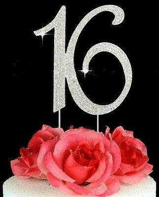 Sweet Sixteen 16th Birthday Number Cake Topper 16 Rhinestone Bling Princess