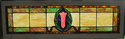 Antique American Stained Glass Transom Window 52 X 16 ~ Architectural Salvage ~