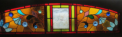 ~ ANTIQUE AMERICAN STAINED GLASS TRANSOM WINDOW BIRD ~ 63.5 x 18.5 ~ SALVAGE ~