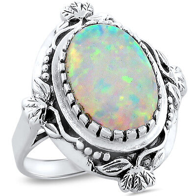 White Lab Opal Antique Victorian Design 925 Sterling Silver Ring Size 7, #222
