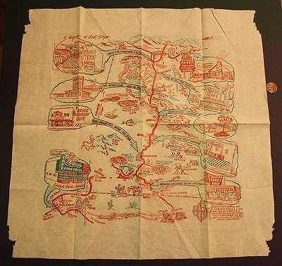 1950s Era State of Utah tourist sites & motels travel napkin with detailed map!