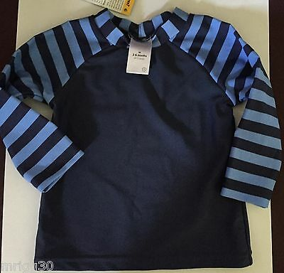 Baby Boys size 3 - 6 mths size 00 Navy & Blue long Sleve Rash Vest UPF 50 + NEW