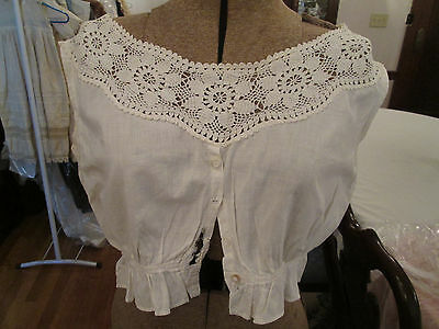 Late Victorian White Cotton Sleeveless Camisole with Lace e