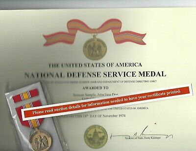 NDSM National Defense Service Medal FREE Certificate Army Navy Air Force Marines