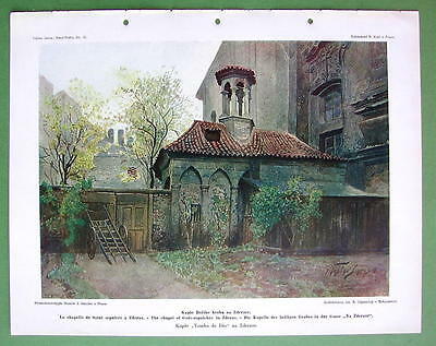 PRAGUE Chapel of Holy Sepulcher - COLOR Antique Print