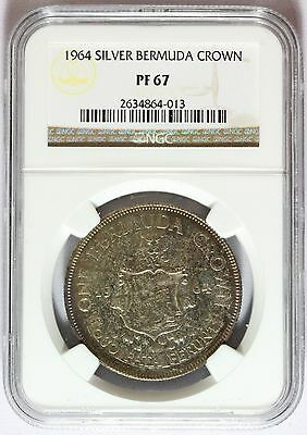 1964 Bermuda Silver One Crown PROOF Coin -  NGC PF 67 Graded - KM# 14