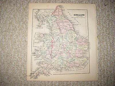 Gorgeous Antique 1856 England Wales Handcolored Map Railroad Detailed Fine Nr