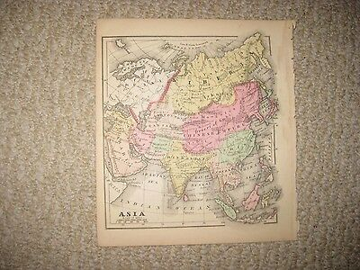 Gorgeous Antique 1856 Asia Handcolored Map Hindostan India Arabia China Japan Nr