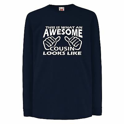ALM786t-Kids Funny Sayings Slogans T Shirts-Awesome Cousin Looks Like tshirt