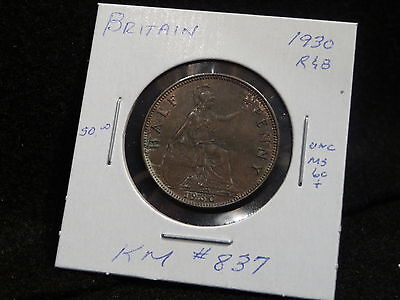 Uk (Great Britain):  1930 Half Penny George V  (Unc.)   (#139)  Km #  837