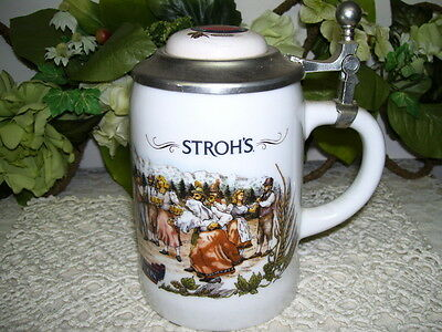 Stroh's Beer Stein Bavaria Collection Porcelain W/ Pewter Lid