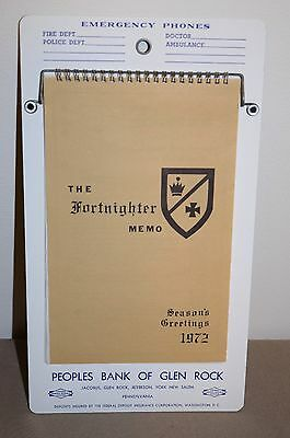 Vtg The Fortnighter Memo Peoples Bank Of Glen Rock, Pa  Jacobus Jefferson York
