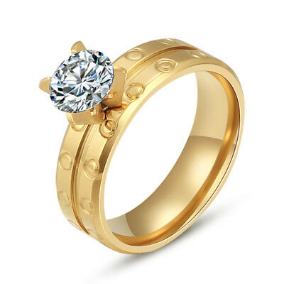 18K Gold Plated Stainless Steel Women Cubic Zirconia Wedding Band Cocktail Ring