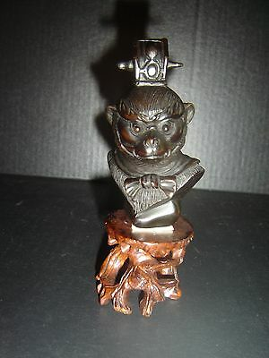 Antique Chinese Qing dynasty Carved Zitan Wood Monkey Sculpture Rare.
