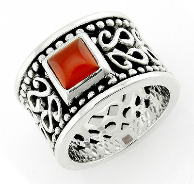 Bali Sterling Silver Ring with Carnelian Size 7