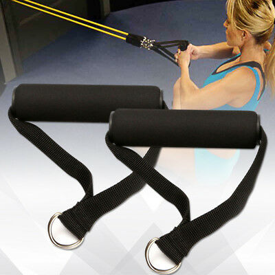 2xSingle Stirrup Handle Foam Grip With D Ring Cable Attachment Fitness Strength