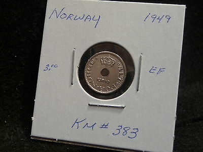 Norway:  1949     10 Ore  Coin     (Ef .)  (#552)  Km# 383