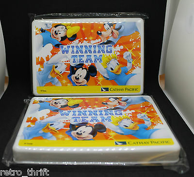 New Cathay Pacific Airlines Disney Mickey Mouse Inflight Child Kit 2 Set Storage