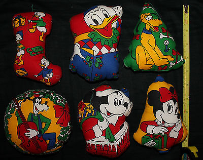 "6 Disney Christmas Ornaments Stuffed 5"" Approx Each Mickey Minnie Donald Pluto"