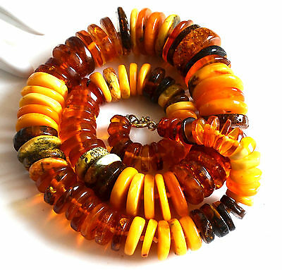 89g butterscotch honey BERNSTEIN Kette -  baltic Donut big amber necklace