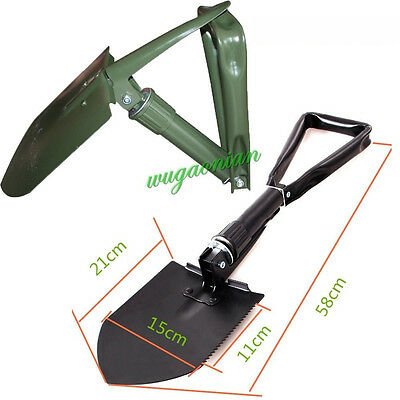 Outdoor Large Folding Black/Green Spade Shovel Pick Axe Emergency Army Tool UK