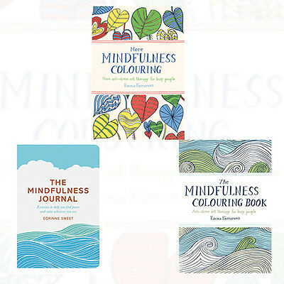 Mindfulness Colouring Book Collection 3 Books Set (The Mindfulness Journal) New