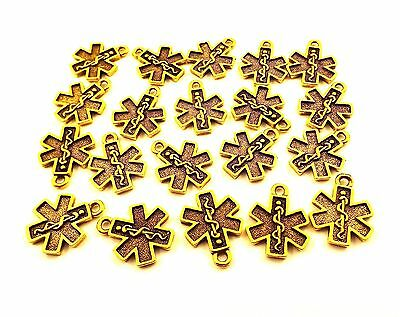 Twenty (20) Gold Tone Pewter Charms - EMS/EMT CROSS - 0041
