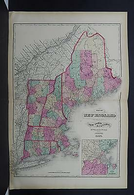 New England, Antique Map, 1871 NOT A REPRODUCTION Y16#07