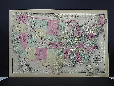 United States, Antique Map 1871 NOT A REPRODUCTION