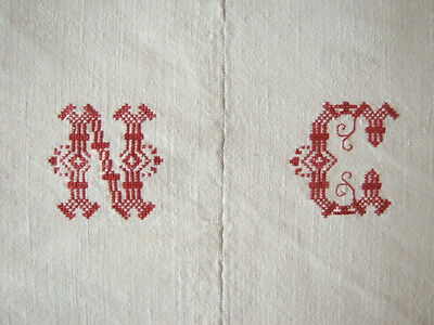 Antique French linen NC monogram sheet textile Metis  72X92