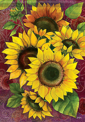 """Sunflower Solstice House Flag Floral Double Sided Decorative Banner 28"""" x 40"""""""