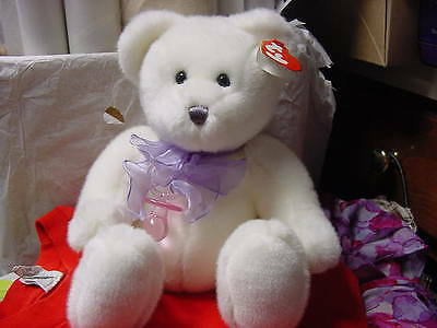 """Classic TY """"Scrumptious""""  baby BEAR  Purple bow, pink pacifier    New with tags"""
