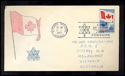 1967 Canada FLAG HANDPAINTED FDC Cover S18
