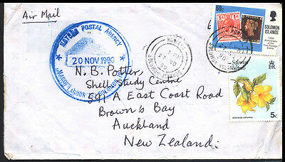 1990 Solomon Island New Zealand Commercial Cover S32
