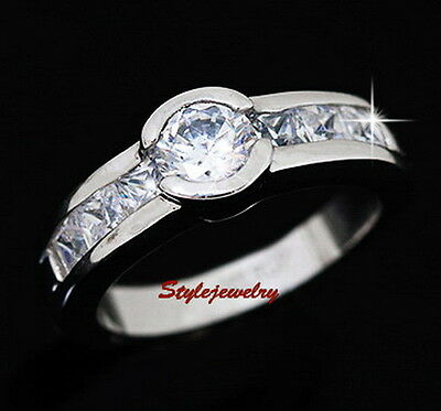 Silver Solitaire With Accents Engagement Ring Made With Swarovski Crystal SR81