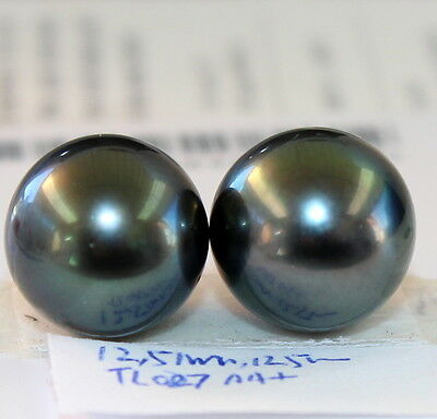 AA+ 12.5, 12.5mm TAHITIAN SALTWATER PEARL HALF HOLE DRILLED