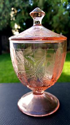 Pink Floral Poinsettia Candy and Lid by Jeannette Glass Company 1931 to 1935