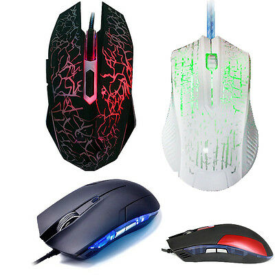 1600/4000 DPI LED Optical USB Wired Gaming Mouse Mice For PC Laptop Games New