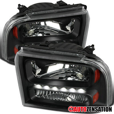 2005-2007 Ford F250/350/450/550 Super Duty 2005 Excursion Black LED Headlights