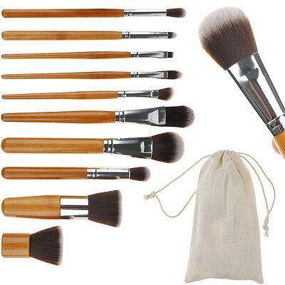 Bamboo Make Up Brush Set Foundation Brushes Kabuki Powder Flat Blusher Contour