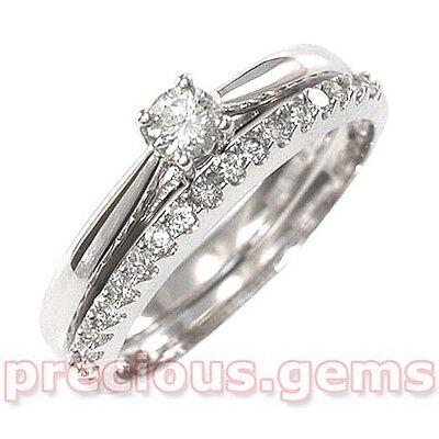 9ct White Gold 0.25ct Diamond Solitaire OR Eternity Bridal Rings (size M & half)
