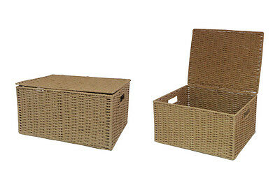 Natural Extra large Paper Rope Storage Baskets Boxes Hampers with Lids WB-9694XL