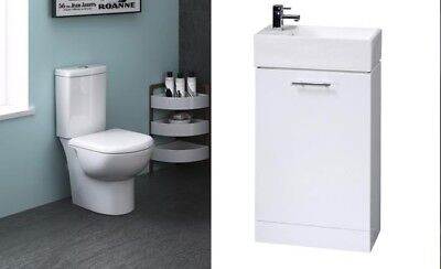 Premier Compact Close Coupled Toilet and Cloakroom Vanity Unit Suite