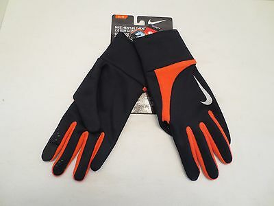 NIKE ELEMENT THERMAL 2.0 RUN GLOVES RUNNING MENS Size XL BLACK ORANGE NWT