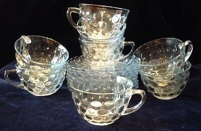 "Anchor Hocking Light Blue AKA ""Fire King"" ""Bubble"" Set of 8 Cups and Saucers"