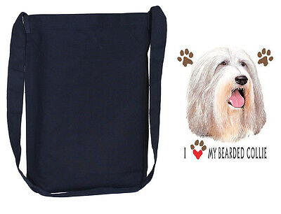 BEARDED COLLIE black cross body tote bag sling bag purse
