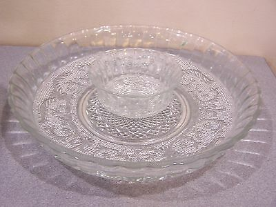 Anchor hocking sandwich glass clear chip and dip set vintage vegetable tray bowl