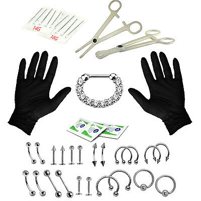 Body Piercing Kit for Everything 36 Pieces Belly Tongue Septum Clicker CZ 16G...